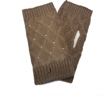 Manusi dama tricotate fara degete Tia accesorii marime universala maro-bej Accesorii Dama