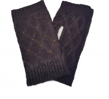 Manusi dama tricotate fara degete Tia accesorii marime universala maro inchis Accesorii Dama
