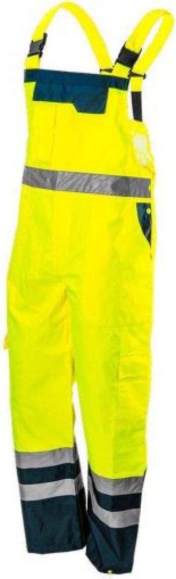 Pantaloni de lucru cu pieptar salopeta reflectorizanti impermeabili galben model Visibility marimea L/52 NEO