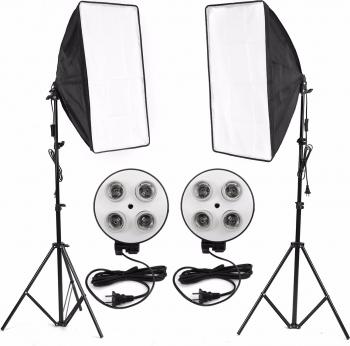 Standuri Foto Video Studio Kit de iluminat 4-Socket E27 suport de lampa Softbox de lumina