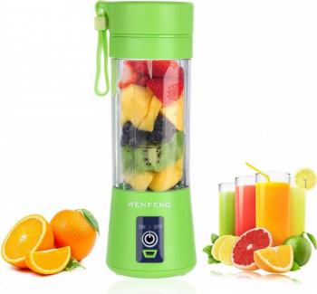 Storcator EasyJet tip blender pentru fructe si legume portabil pe baterii recipient tip pahar din sticla groasa VERDE Blendere si Tocatoare