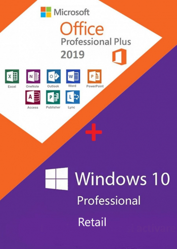 Windows 10 Pro Retail + Office 2019 Pro Plus Retail Permanenta persoane fizice si juridice Sisteme de operare