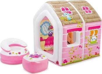 Casuta gonflabila cu scaunel si masa gonflabile ideala pentru copii PinkHouse 124 x 109 x 122 cm