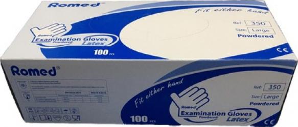 Set 100 bucati manusi de protectie Romed Olanda unica folosinta latex pudrate alb M