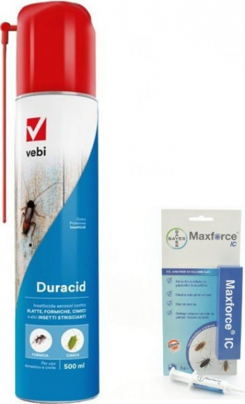 Set insecticid aerosol profesional Duracid 500 ml si Maxforce gel Bayer 5 gr anti gandaci gandaci negri viespi muste furnici tantari Articole antidaunatori gradina
