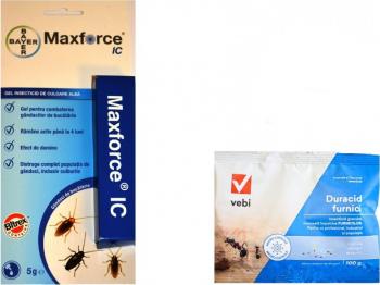 Set insecticide Duracid furnici 100 gr si gel Bayer Max force 5 gr anti insecte taratoare gandacul de bucatarie gandacul rosu Articole antidaunatori gradina