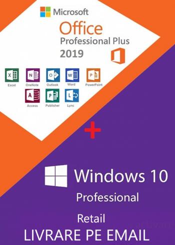 Windows 10 Pro Retail + Office 2019 Pro Plus Retail Permanenta persoane fizice si juridice