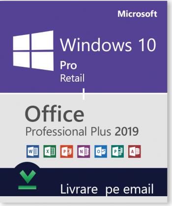 Windows 10 Pro Retail + Office 2019 Pro Plus persoane fizice si juridice