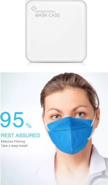Masti de Protectie KN95 10 Bucati masca albastru Plus 1 Buc Cutie Portabile Pentru Depozitare Masti chirurgicale si reutilizabile