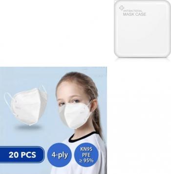 Masti de Protectie pentru copii KN95 20 Bucati 6-14 ani Plus 1 Buc Cutie Portabile Pentru Depozitare Masti chirurgicale si reutilizabile