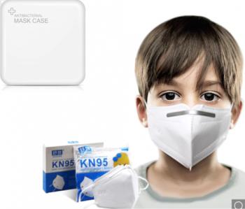 Masti de Protectie pentru copii KN95 50 Bucati 5 -11 ani Plus 4 Buc Cutii Portabile Pentru Depozitare Masti chirurgicale si reutilizabile