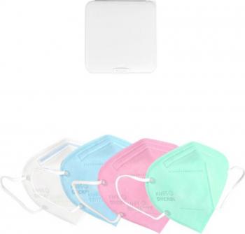 Masti de Protectie pentru copii KN95 8 Bucati 5-12 ani multicolor Plus 1 Buc Cutie Portabile Pentru Depozitare