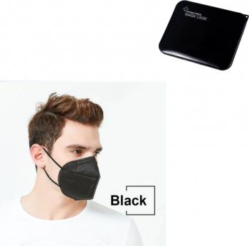 Set 10 buc Masca protectie KN95 FFP2 negru Plus 1 Buc Cutie Portabile Pentru Depozitare Masti chirurgicale si reutilizabile