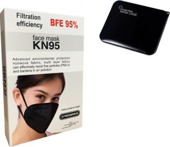 Set 10 buc Masti de Protectie KN95 10 Bucati masca negru kn95 Negru Plus 1 Buc Cutie Portabile Pentru Depozitare Masti chirurgicale si reutilizabile