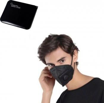 Set 10 Bucati Masca De Protectie Negru KN95 FFP2 cu valve Plus 1 Buc Cutie Portabile Pentru Depozitare Masti chirurgicale si reutilizabile