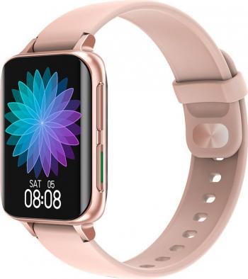 Ceas smartwatch TechONE DT93 1.8 inch IPS HD curbat multi sport apel bluetooth 5.0 agenda ritm cardiac inteligent nivel oxigen auriu Smartwatch