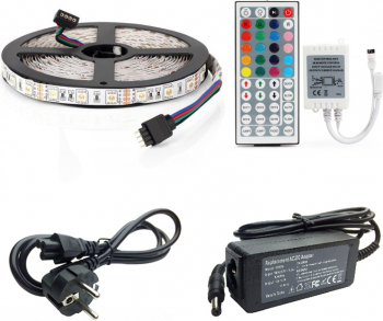 Banda LED multicolora RGB 5050 - 5 metri include telecomanda 44 taste + adaptor + sursa
