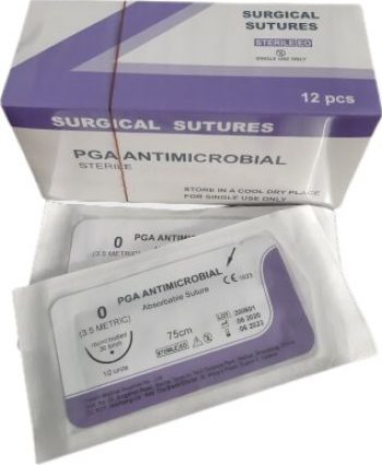 Fire sutura resorbabil Acid poliglicolic antimicrobian