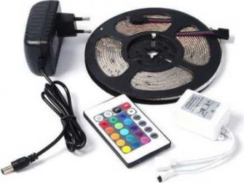 Kit Banda Led 3825 RGB Exterior Led Strip cu lumina multicolora IP65 60 Led-uri/m 5 metri cu Controller si Telecomanda 24 taste