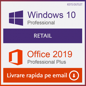 Windows 10 Pro Retail + Office 2019 Pro Plus Licenta Permanenta Aplicatii desktop