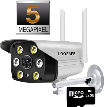 Camera video de supraveghere wireless Loosafe C6-5 5 Megapixel Full HD comunicare bidirectionala vedere noptea color detectie miscare Camere de Supraveghere