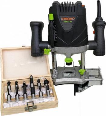 Masina de frezat Stromo SER2100 2100 W 16000-30000 RPM 50 mm control viteza + Set 12 freze pentru lemn