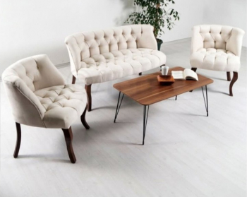 London Times Coffee Set canapea fixa 2 persoane cu 2 fotolii Crem tapitat stofa cadru lemn