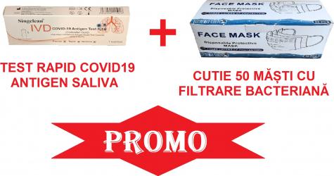 Test rapid COVID-19 Antigen Saliva 1 buc +50 buc masti din 3 straturi cu filtrare bacteriana Teste rapide covid anticorpi antigen