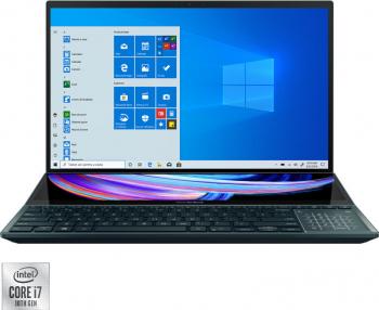 Ultrabook Asus Zenbook Pro Duo Intel Core (10th Gen) i7-10870H 1TB SSD 32GB RTX 3070 8GB 4K Touch Win10 Pro T.Ilum. Celestial Blue Laptop laptopuri