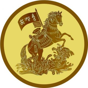 Abtibild cu Cal de vant si Stegul Victoriei pentru succes - mic remediu Feng Shui din PVC 50 mm lungime