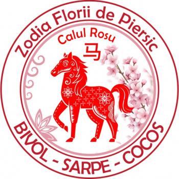 Abtibild cu Cal Rosu si Floare de Piersic - mic remediu Feng Shui din PVC 50 mm lungime