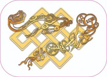 Abtibild cu nodul mistic Ru Yi si Monede remediu Feng Shui din PVC 65 mm lungime