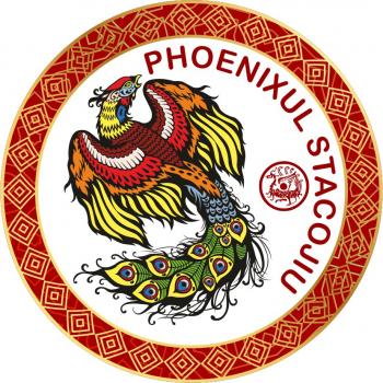 Abtibild cu Phoenix Stacojiu - cele 4 animale celeste - mic remediu Feng Shui din PVC 50 mm lungime