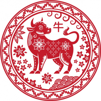 Abtibild cu zodia Bivol - mic remediu Feng Shui din PVC 50 mm lungime