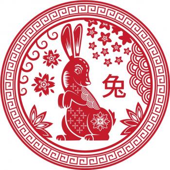 Abtibild cu zodia Iepure - mic remediu Feng Shui din PVC 50 mm lungime