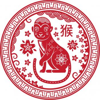 Abtibild cu zodia Maimuta - mare remediu Feng Shui din PVC 110 mm lungime
