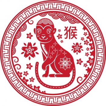 Abtibild cu zodia Maimuta - mic remediu Feng Shui din PVC 50 mm lungime