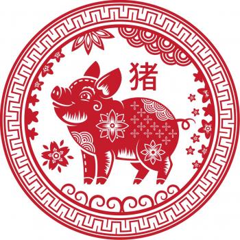 Abtibild cu cele 8 simboluri tibetane si sacul abundentei - mic remediu Feng Shui din PVC 50 mm lungime