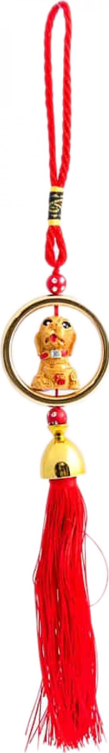 Amuleta cu caine auriu cu pepita remediu Feng Shui din Rasina 330 mm lungime