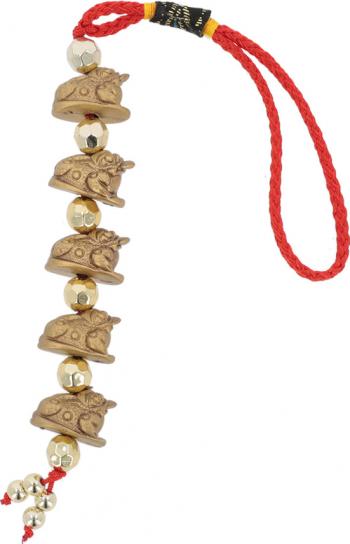 Amuleta cu cinci broscute norocoase aurii remediu Feng Shui din Rasina 250 mm lungime