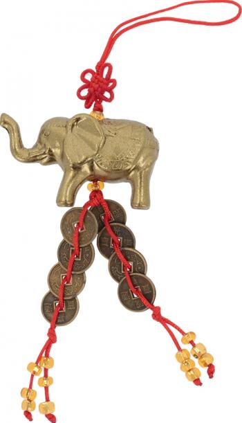 Amuleta cu elefant si monede remediu Feng Shui din Rasina 130 mm lungime