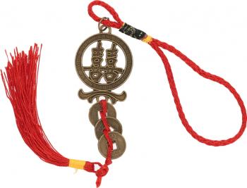 Amuleta cu simbolul dublei fericiri si Monede Chinezesti remediu Feng Shui din Metal 210 mm lungime