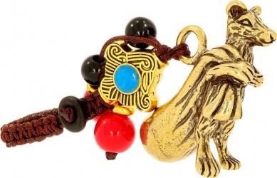 Amuleta cu Sobolan auriu din metal cu sacul abundentei remediu Feng Shui din Metal 20 mm lungime