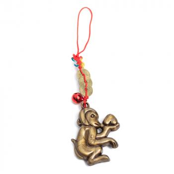 Amuleta de protectie cu maimuta cu piersica remediu Feng Shui din Metal Plastic 30 mm lungime
