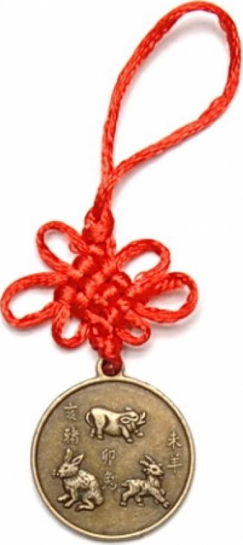 Amuleta de protectie pentru aliati zodiacali Iepure Mistret si Oaie remediu Feng Shui din Alama 120 mm lungime