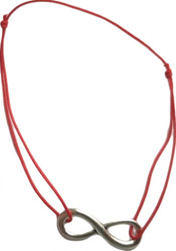 Bratara cu cifra opt din metal pe snur rosu remediu Feng Shui din Metal 80 mm lungime