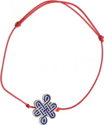 Bratara cu nod mistic auriu pe snur rosu remediu Feng Shui din metal 80 mm lungime