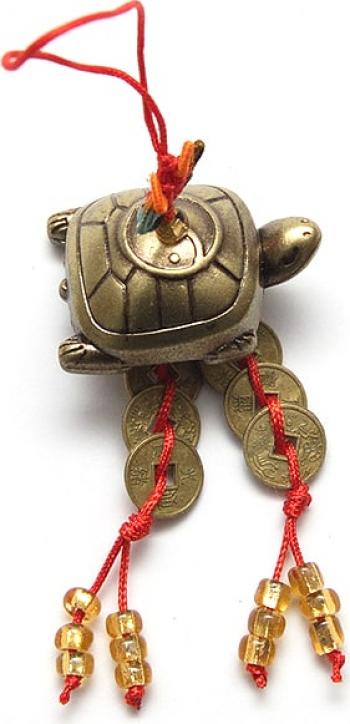 Canaf cu broasca testoasa si monede remediu Feng Shui din Metal Rasina 100 mm lungime