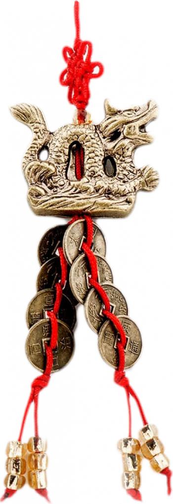 Canaf cu dragon si monede remediu Feng Shui din Rasina 100 mm lungime