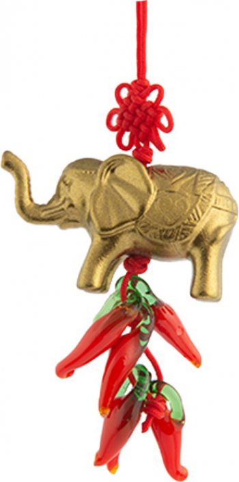 Canaf cu elefant si ardei rosii remediu Feng Shui din Rasina 310 mm lungime